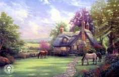 Thomas Kinkade a perfect summer day painting for sale, this painting is available as handmade reproduction. Shop for Thomas Kinkade a perfect summer day painting and frame at a discount of off. Thomas Kinkade Art, Thomas Kincaid, Kinkade Paintings, Art Thomas, Modern Canvas Art, Cottage Art, Cozy Cottage, Photo D Art, Famous Artists