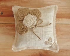 """8"""" x 8""""  Off-White Burlap Ring Bearer Pillow w/ Jute Twine and Rosettes-Personalize w/ Initials + Date- Rustic/Country/Shabby Chic/Wedding"""