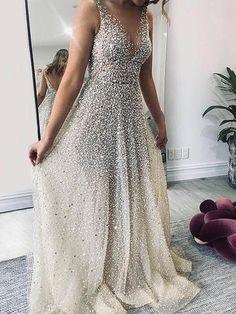 Sexy V-Neck Sparkling Evening Dress – Naychic Sexy Dresses, Prom Dresses, Formal Dresses, Wedding Dresses, Evening Dresses Online, England Fashion, Floor Length Dresses, Dress Silhouette, Collar Dress