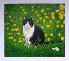 pet cat portrait oil painting on canvas