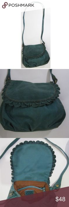 """Italian Leather Lucky Brand Crossbody Bag This is a lovely small bag with a ruffled/scalloped flap. It measures approximately 9""""L x 3.5"""" W x 23""""strap. Interior is in excellent condition.  Exterior contains very minimal tiny dark spots that appear on the upper portion of the flap as depicted on the last photo.  The texture is soft Italian leather.  The design and the texture attracted me to this hard to let go bag. Lucky Brand Bags Crossbody Bags"""