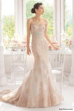 aire barcelona 2015 #bridal amelie strapless colored lae #wedding dress #weddings #weddingdress