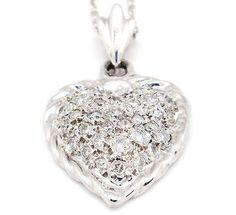 "Brilliant 14k White Gold Si1-Si2, H-I,0.84tcw Diamond Heart Necklace 18"" Long"