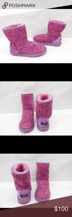 UGG AUSTRALIA 1004896Y LEOPARD SHORT SUEDE BOOTS 6 UGG AUSTRALIA 1004896Y PINK LEOPARD CLASSIC SHORT SUEDE WINTER BOOTS 6 UGG Shoes Boots