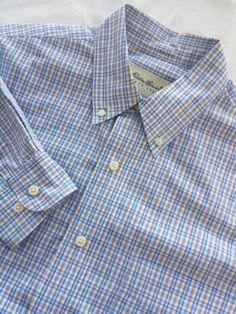Eddie Bauer Shirt Medium Mens Blue Checked Cotton Button Down Long Sleeve #EddieBauer