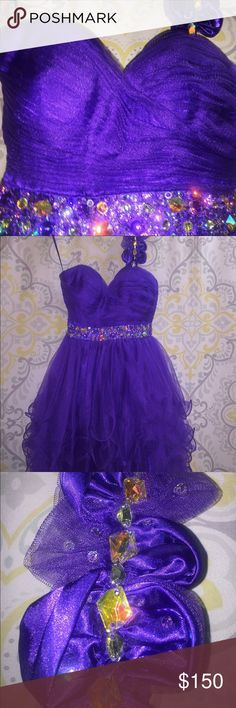 "Dress Purple cocktail dress with a strap and embroidered rhinestones. 32""30""32"" Dresses Prom"