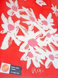 Mod Daisy - 1960's Vera Neumann Lucky Ladybug Hand-Painted Tea Towel - Belgian Linen - MINT. $52