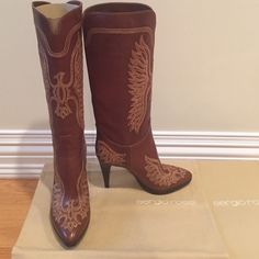 """Sergio Rossi boots Beautiful boots only worn one time. 4"""" heel. Brand new condition Sergio Rossi Shoes Heeled Boots"""