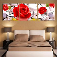 Canvas Pictures for Living Room Wall Art Canvas Stone Red Flowers Oil Painting Home Wall Decor for Bedroom No Frame