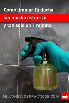 Como limpiar tu ducha sin mucho esfuerzo y tan solo en 1 minuto #decha #baño #azulejos #cal #jabon #lavar