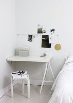 Simple desk setup. (Maybe for bedroom, next to bed?)