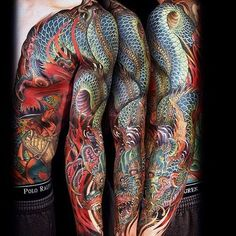 Very detailed and intricate Japanese tattoo sleeve. Super cool. Love the work #CuratedTattoos