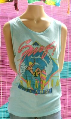 VINTAGE 1980's Surfer Hawaiian TANK TOP by BabylonSisters on Etsy, $16.00