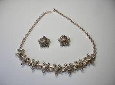 Vintage Gold tone Metal Filigree Flowers with AB Rhinestones