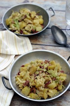 Pan-fried potatoes, cabbage and bacon with cream and mustard - Amandine Cooking - potato and cream puff - Potato Recipes, Meat Recipes, Healthy Recipes, Healthy Food, Pan Fried Potatoes, Fruit Plus, Vegetable Soup Healthy, Cabbage And Bacon, No Salt Recipes