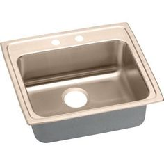 Elkay LRAD2521602-CU Lustertone CuVerro Antimicrobial Copper Single Bowl Top Mount Sink with 2 Faucet Holes, Multicolor