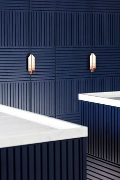Interior Design Kitchen - Decked out in an elegant midnight blue with rose copper details, Miuccia is a new freestanding kitchen design inspired by a traditional hutch and cupboard.
