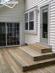 Back deck. Stepping outside the door onto the first level of the deck Patio Steps, Outdoor Steps, Patio Deck Designs, Patio Design, Back Patio, Backyard Patio, Bungalow, Platform Deck, Diy Deck