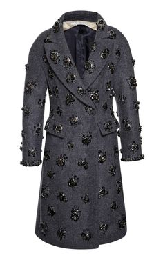 Charcoal Coat With Steel Rose Embroidery by Aquilano.Rimondi - Moda Operandi