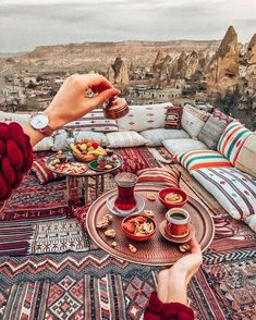 The only way to stay awake is Turkish coffee or strong tea ☕️ Meeting every … The only way to stay awake is Turkish coffee or strong tea ☕️ Meeting every sunrise here ❤️ Good morning from Cappadocia ✨ Wearing Cathy Luse… Places To Travel, Places To Go, Deco Restaurant, Persian Restaurant, Istanbul Travel, Cappadocia Turkey, Berber, Turkey Travel, How To Stay Awake