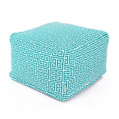 The architectural, geometric design of the UV treated fabric on this ottoman…