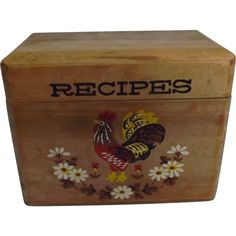 Rooster Wood Recipe Box Vintage Kitchen Decor