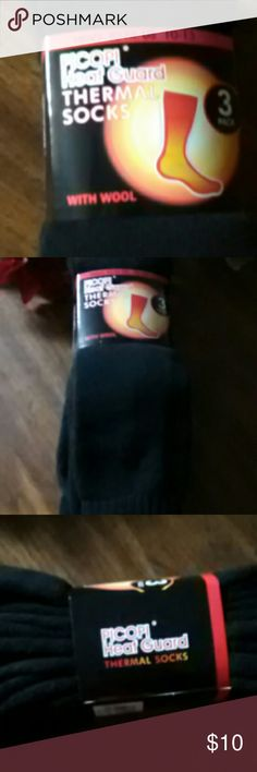 Three pairs of men thermal socks with wool10-13 Three pairs of men long black thermal socks with wool. Fit size10 - 13. Great for outdoor work during the winter months.. New.  $10. Underwear & Socks