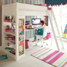 Closest I can find in UK to the loft bed constantly pinned from the pbteen site. Maybe improved by shelving/drawers at the other end (like the pbteen one). Another idea: dispense with ladder and get stairs made with more shelving or drawers?