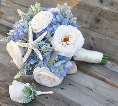 Starfish bling wedding bouquet perfect for your destination beach wedding! See more here: http://www.hollysweddingflowers.com