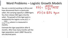 Logistic Growth Models - Example 1