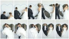 """""""See all the cute photos below? This is an old German wedding tradition that Franzi told me about. A bed sheet is strung up and a large heart shape is painted to the front of it. The bride and groom each get a pair of scissors and have to cut around each side of the heart and meet in the middle. The groom then has to carry his bride through the heart. Could this tradition be any cuter?!?!"""