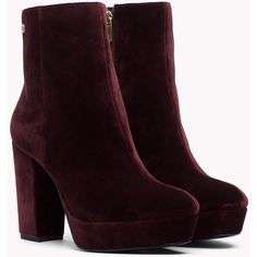 Velvet Ankle Boot TOMMY HILFIGER ($190) ❤ liked on Polyvore featuring shoes, boots, ankle booties, velvet boots, velvet ankle boots, checkered boots, velvet booties and ankle bootie boots