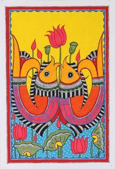 Madhubani Paintings Peacock, Kalamkari Painting, Madhubani Art, Indian Art Paintings, Colorful Paintings, Mandala Art Lesson, Ganesha Painting, Indian Folk Art, Art Drawings Sketches Simple