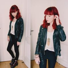 H&M Jacket, Forever 21 Crochet Top, Forever 21 Necklace, H&M Pants