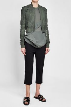 RICK OWENS - Leather Bomber Jacket with Virgin Wool | STYLEBOP