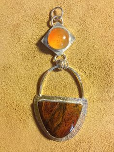 Carnelian and agatized jasper sterling silver pendant by TiarasNJewels on Etsy