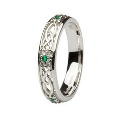Celtic Wedding Band Ladies Emerald and Diamond Set by Shanore Celtic Knot Ring, Celtic Rings, Celtic Wedding Bands, Wedding Rings, Wedding Jewelry, Just In Case, Just For You, Jewelry Rings, Jewelry Quotes