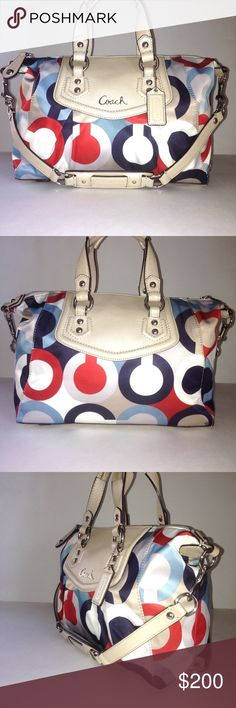 Coach Ashley Op Art Scarf Print Convertible Bag Super rare Authentic Coach beautiful scarf print Ashley Convertible Bag that's poised & perfectly sized for all your here-to-there endeavors. Features detachable strap giving you that convenient hands-free carrying option. I used this bag for just one season. Excellent to like-new condition. Be prepared to get tons of compliments on this little beauty. Coach Bag Registration No. C1320-F23910 #coach #lovecoach #coachashley #style #love #coachbag…