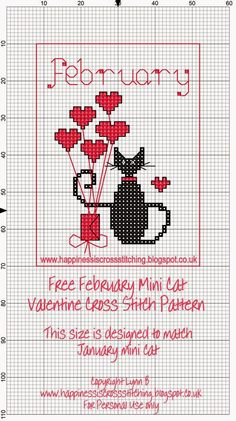 Calendrier chat étiquettes papier cadeau Happiness is Cross Stitching : Mini Cat Cross Stitch Freebies