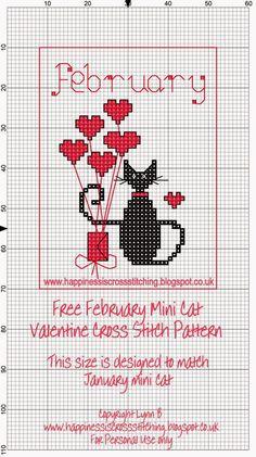 La felicidad es el punto de cruz: Mini Cross Stitch Cat Freebies