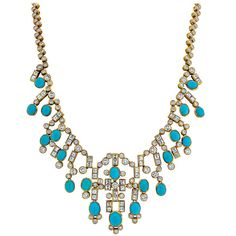 Adler Turquoise, Diamond, and Yellow Gold Necklace | From a unique collection of vintage more necklaces at https://www.1stdibs.com/jewelry/necklaces/more-necklaces/