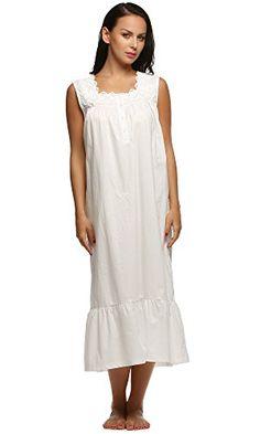 Ekouaer Womens Nightgown 100% Cotton Victorian Long Sleeveless Sleepwear  S-XL Front Button f192275a4