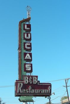 vintage dallas neon signs | Lucas B Restaurant, Animated Neon Sign, Oak Lawn Avenue, Dallas ...