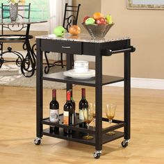 Perfect for any kitchen, this wonderfully designed bitchen buffet is filled with features that will enhance your cooking experience. Crafted with a marble veneer top, this cart features a sliding top storage and a helpful towel rack.