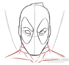 How to Draw Deadpool Easy for Beginners Drawing Superheroes, Marvel Drawings, 3d Drawings, Drawing Sketches, Sketching, Simple Face Drawing, Deadpool Face, Iron Man Art, Cute Easy Drawings