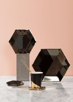 """Inset with gold stripes on elegant hexagon. Black, Gold Foil Paper Approx. 10.5"""" Corner to Corner 8 / Pack"""