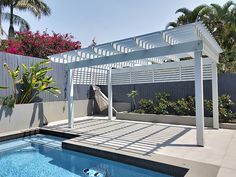 This Pergola has been painted in a very light grey, Cold Steel and installed by the pool at a residence in Tarragindi. It creates a new entertainment area and shade beside the pool. Pool Gazebo, Backyard Pool Landscaping, Backyard Pool Designs, Swimming Pools Backyard, Pergola Patio, Patio Design, Pergola Ideas, Garden Design, Pool Shade