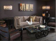 15 Relaxing Brown and Tan Living Room Designs Brown Leather Sofa Living Room, Brown And Cream Living Room, Brown Leather Furniture, Leather Living Room Furniture, Beige Living Rooms, Eclectic Living Room, Living Room Color Schemes, Paint Colors For Living Room, Living Room Designs