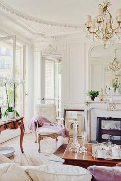 glam living room white color palette