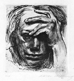 Photograph:Self-Portrait with Hand on Forehead is a 1910 etching by Käthe Kollwitz.